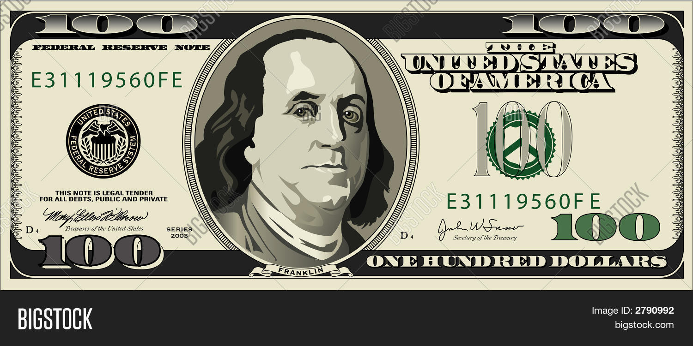 1500x750 100 Dollar Bill.eps Vector Amp Photo Bigstock