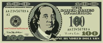 354x149 A Realistic Printable 100 Dollar Bill With The Face Of Benjamin