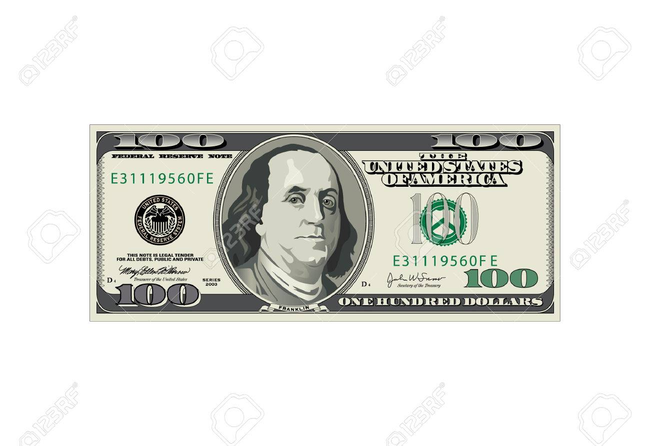 1300x893 A Detailed Vector Drawing Of A One Hundred Dollar Bill Royalty
