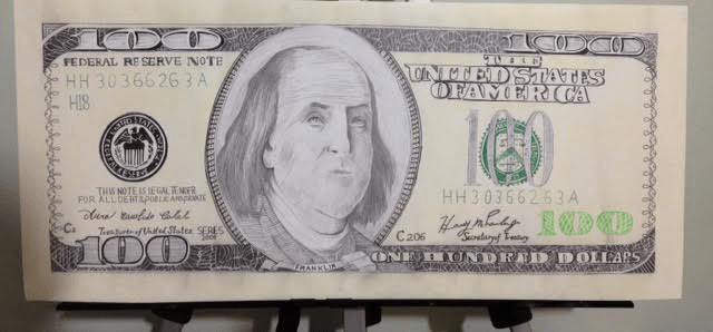 640x298 United States 100 Dollar Note Drawing By Louinakhash