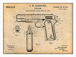 300x225 1911 Colt 45 Automatic Gun Patent Print Art Drawing Poster 18x24