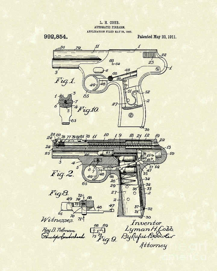 720x900 Automatic Firearm 1911 Patent Art Drawing By Prior Art Design