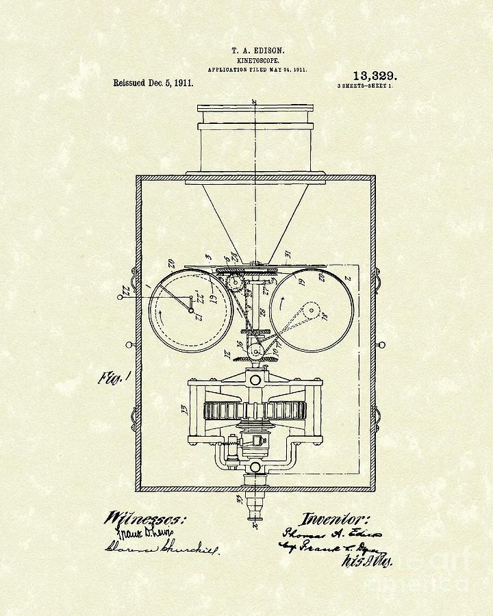 720x900 Edison Kinetoscope 1911 I Patent Art Drawing By Prior Art Design