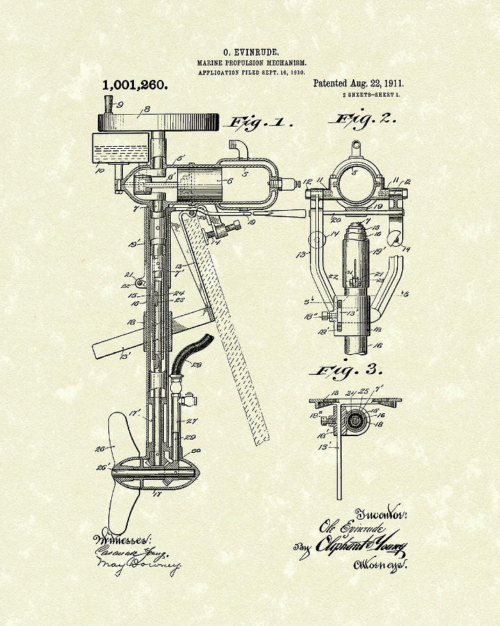 720x900 Evinrude Boat Motor 1911 Patent Art Drawing By Prior Art Design