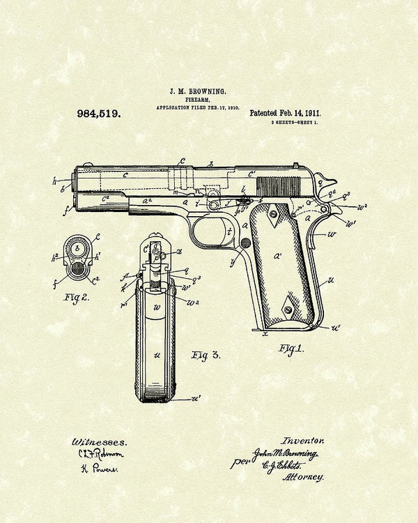 600x750 Firearm 1911 Patent Art Art Print By Prior Art Design