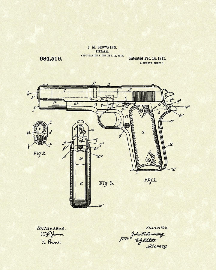 720x900 Firearm 1911 Patent Art Drawing By Prior Art Design