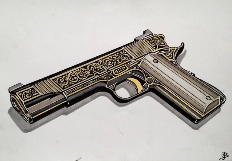770x534 Saatchi Art 1911 Pistol Drawing By Jan Basic
