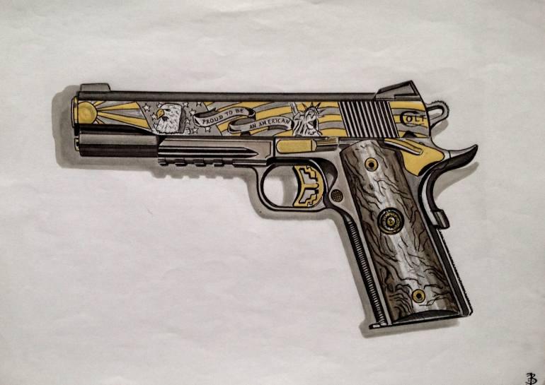 770x545 Saatchi Art Colt 1911 Drawing By Jan Basic