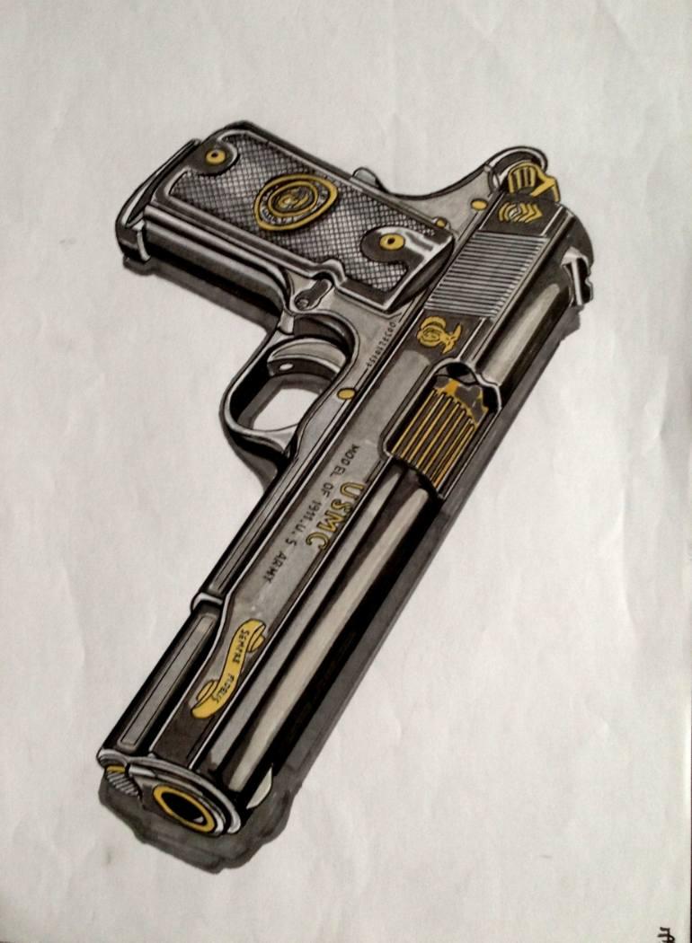 770x1050 Saatchi Art Navy Colt 1911 Drawing By Jan Basic