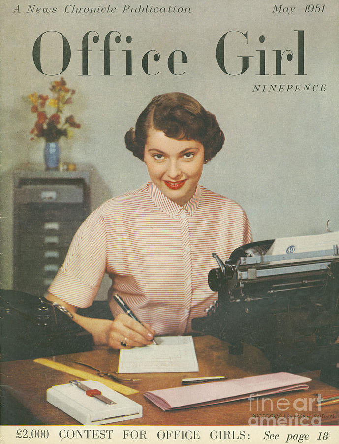 689x900 Office Girl 1951 1950s Uk Womens Drawing By The Advertising Archives