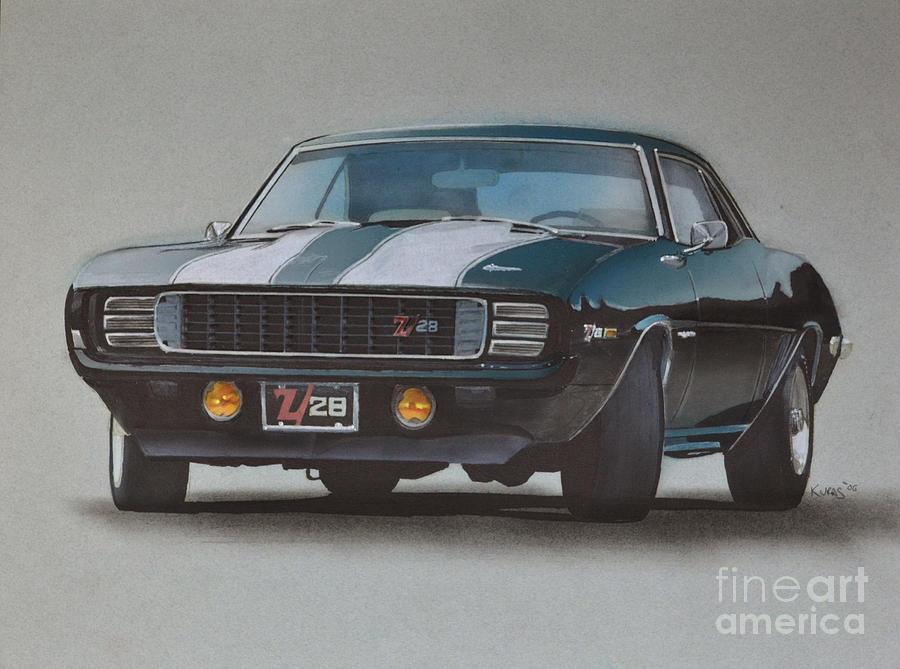 900x669 1969 Camaro Z28 Drawing By Paul Kuras