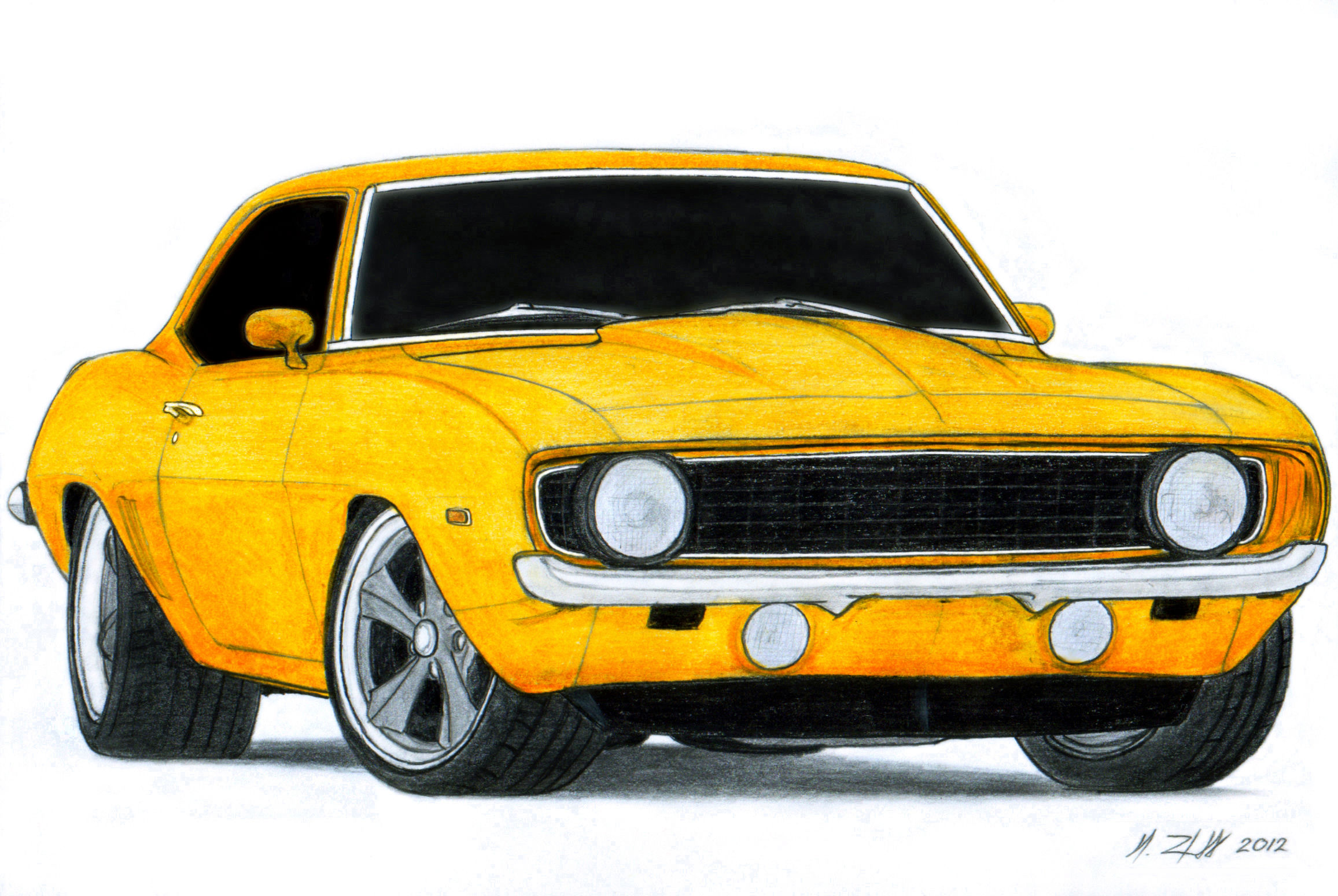 2313x1551 1969 Chevrolet Camaro Ss Pro Touring Drawing By Vertualissimo