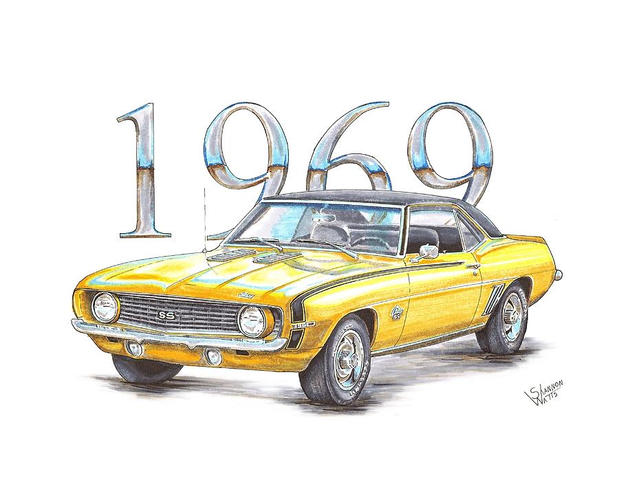 900x708 1969 Chevrolet Camaro Super Sport Drawing By Shannon Watts