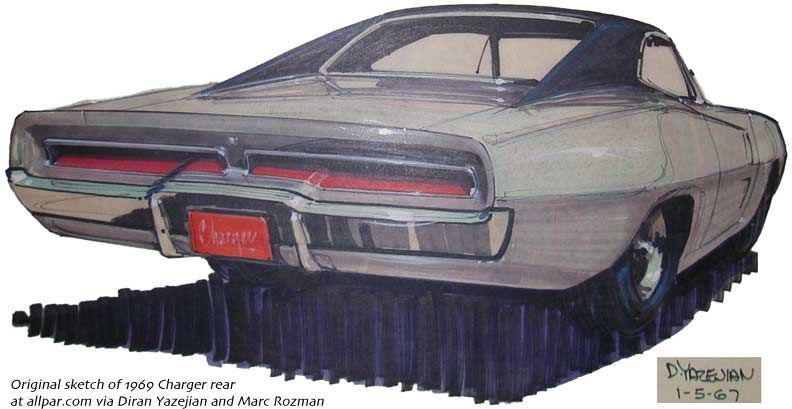 792x409 1969 Charger Rear Sketch Favorite Autos Dodge