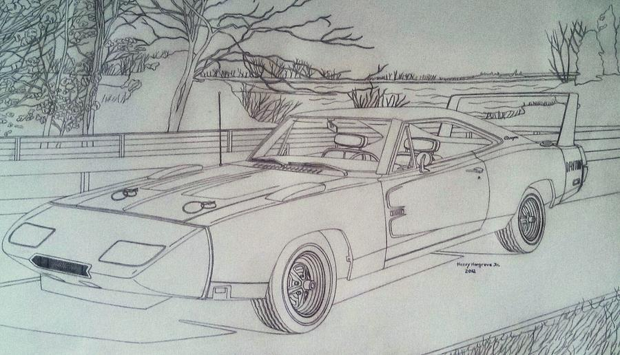 900x516 1969 Dodge Daytona Charger Drawing By Henry Hargrove