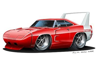 400x266 1969 Dodge Daytona Charger Muscle Car Cartoon Tshirt Cartoon