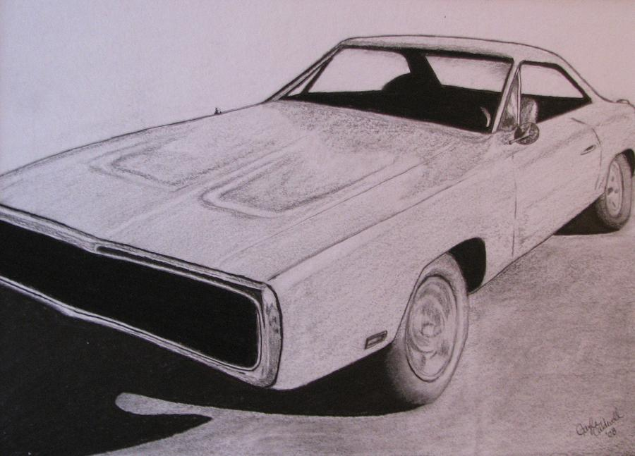 900x647 1970 Dodge Charger Drawing By Gayle Caldwell