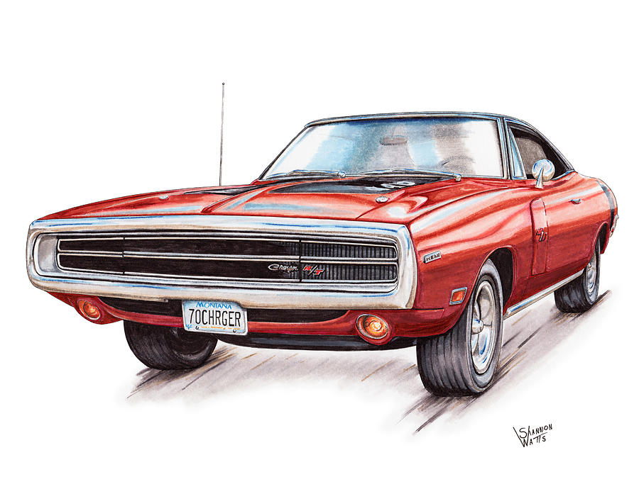 900x707 70 Dodge Charger Rt Drawing By Shannon Watts