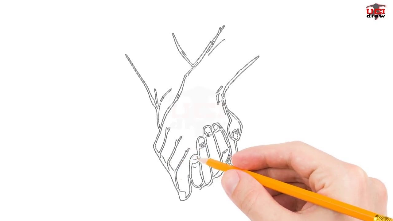 1280x720 Pin Drawn Pencil Hand Sign 4. How To Draw Holding Hands Step By