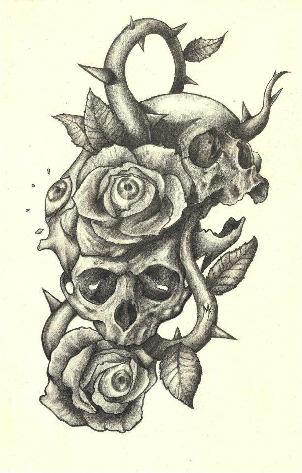 614x960 2 Skulls, 2 Roses Art Inspiration