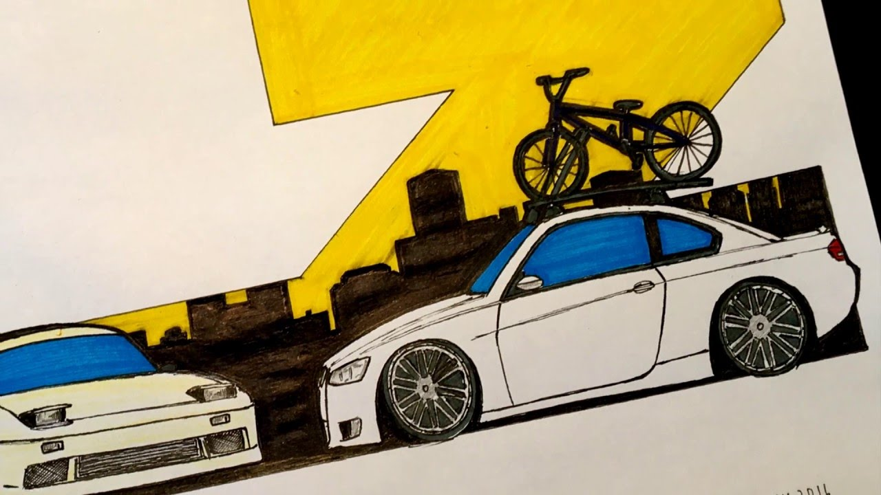 1280x720 Speed Drawing Adam Lz's Nissan 240sx Amp Bmw 335i