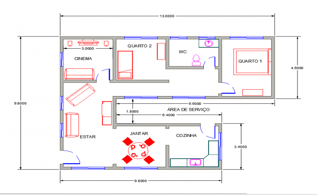 650x400 Simple Floor Plan With Dimensions