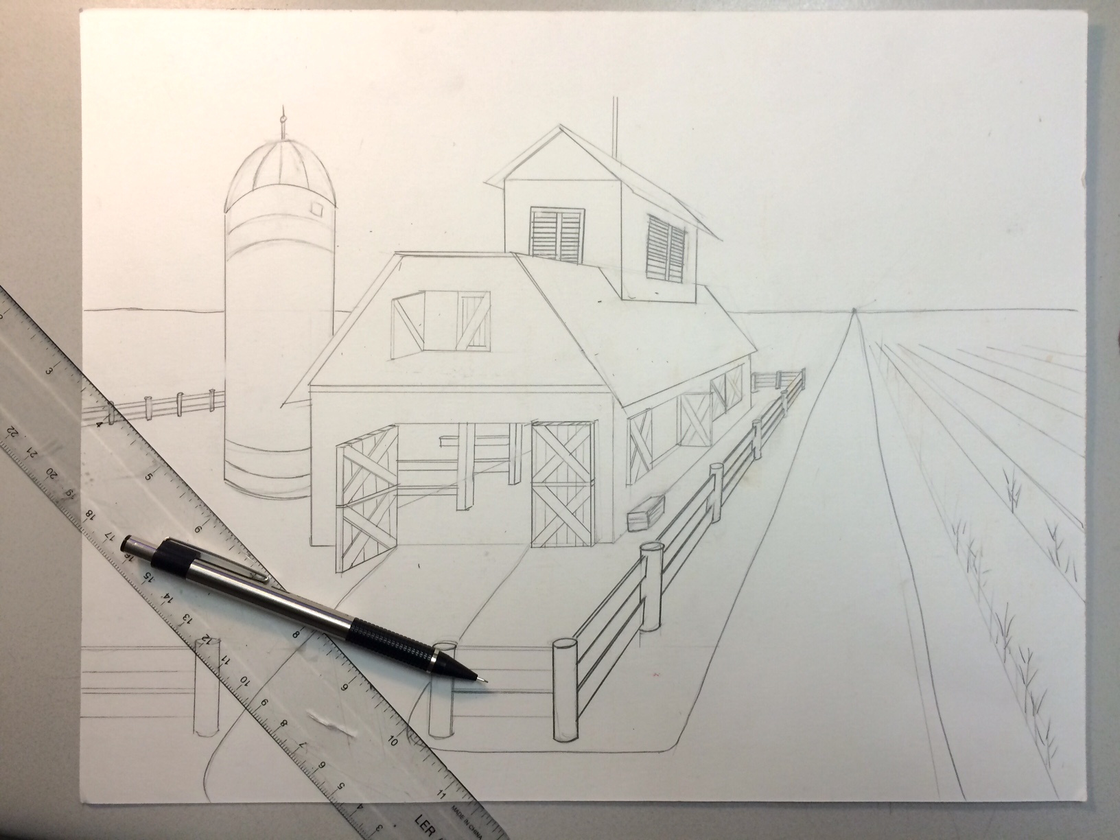 1632x1224 2nd Hand Jimmy Barn Drawing2 Point Perspective Barn Flowers