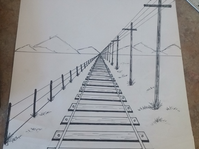 640x478 How To Draw A 1 Point Perspective Railroad