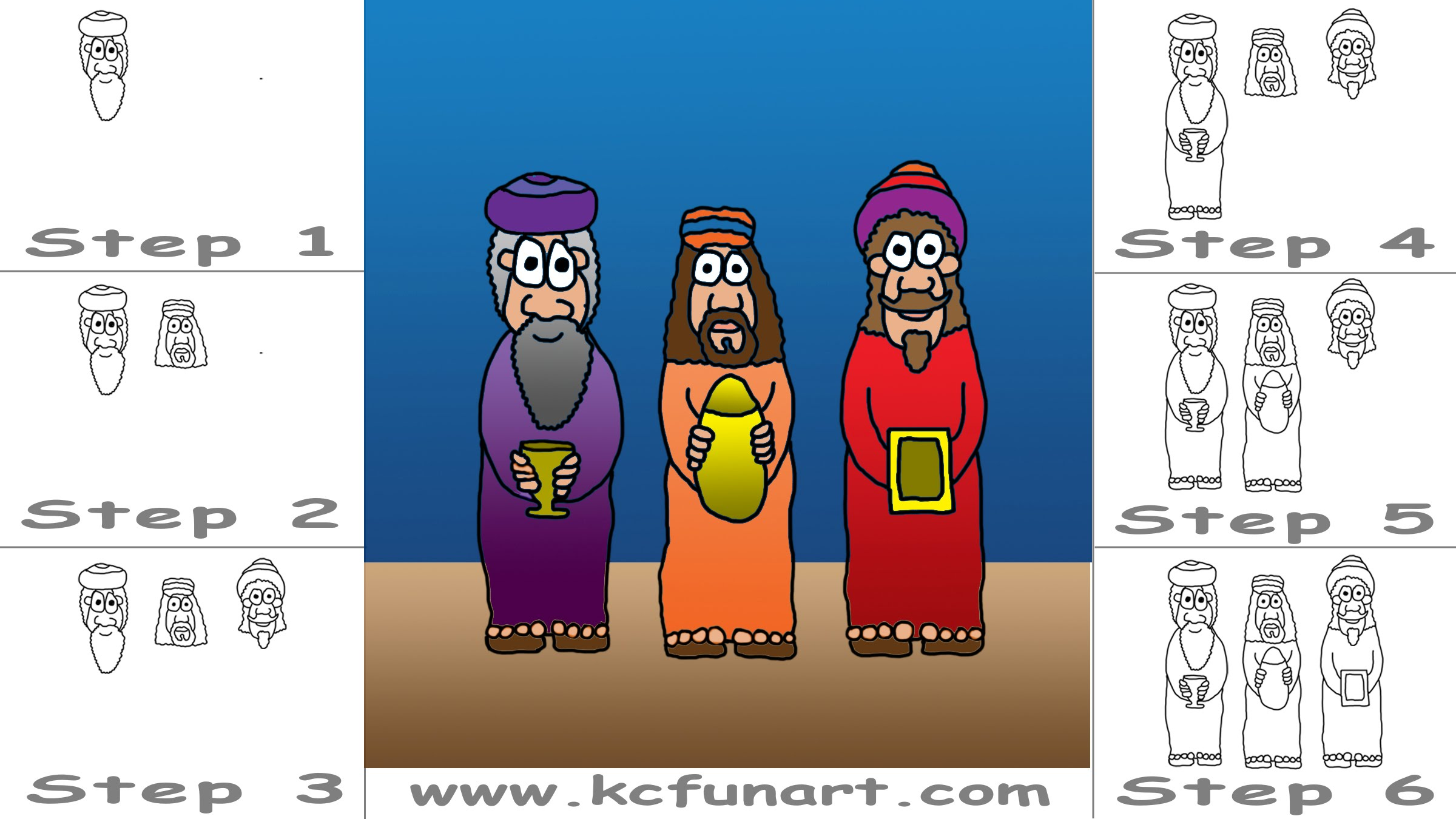 2400x1350 89 How To Draw Cartoon Three Wise Men