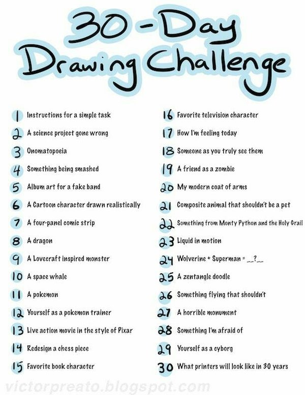 600x776 30 Day Drawing Challenge By Hellohannah265