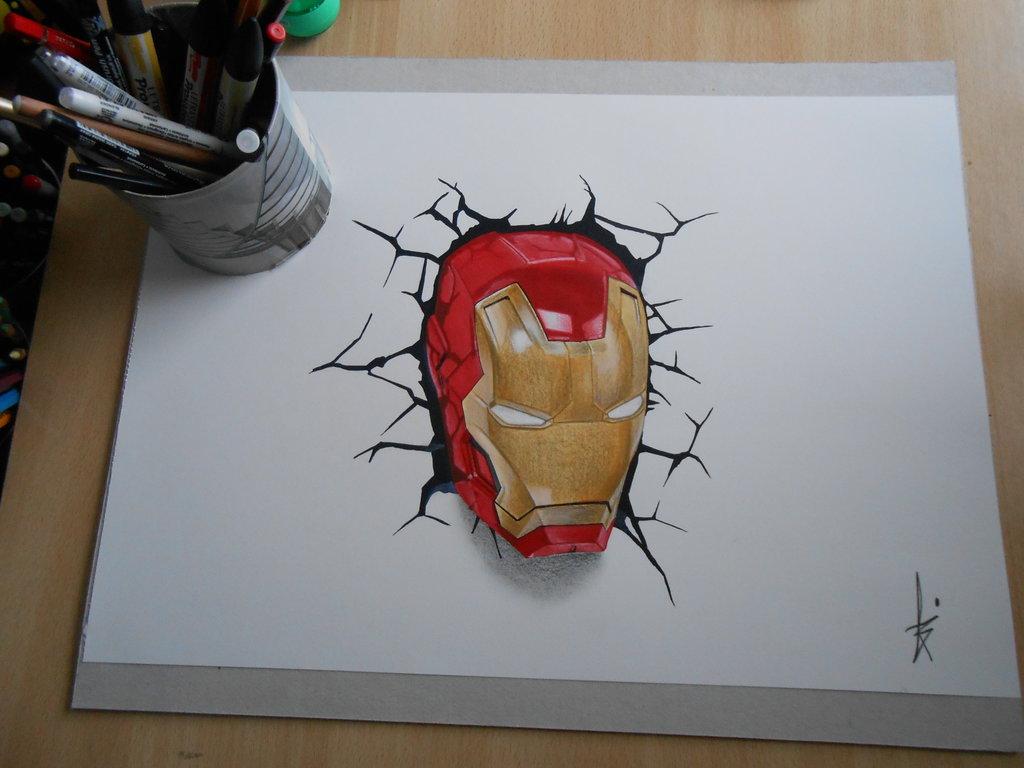 1024x768 Drawing 3d Art Iron Man By Dibujarteriestra