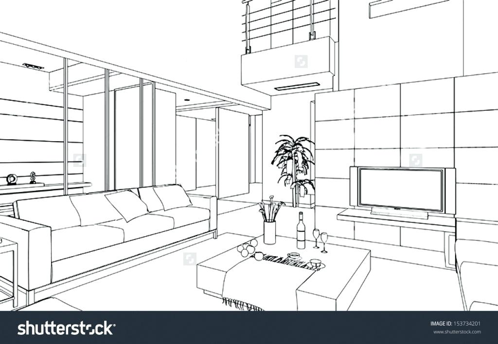 1024x709 3d Bedroom Drawing Bedroom Drawing Freehand Drawing Illustration