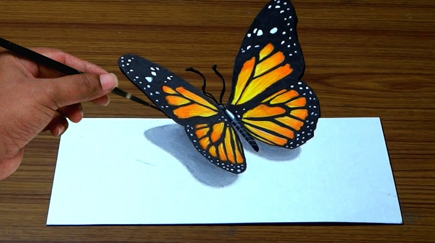 1400x783 3d Butterfly Drawing