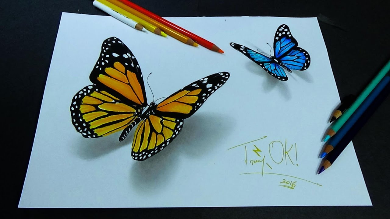 1280x720 Crazy 3d Butterfly Drawing