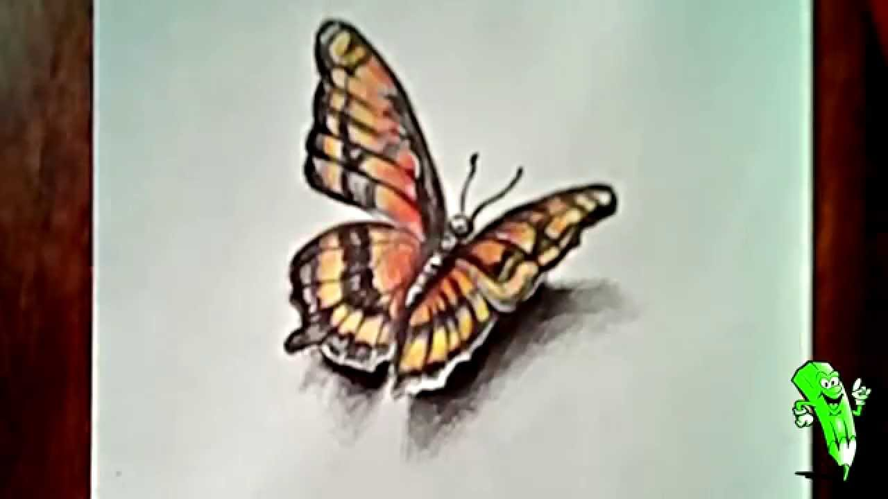 1280x720 How To Draw A Butterfly (3d Drawing)