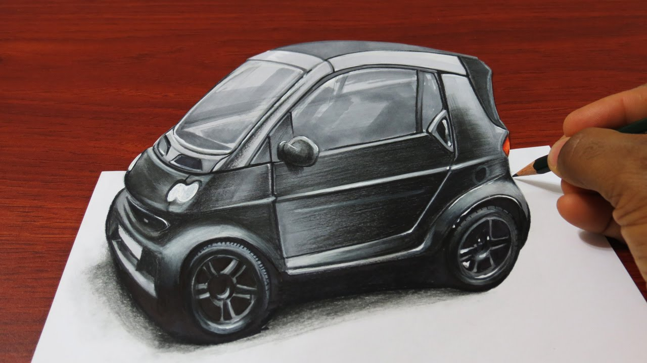 3d car drawing at getdrawings free for personal use 3d car 1280x719 how to draw a 3d smart car malvernweather Gallery