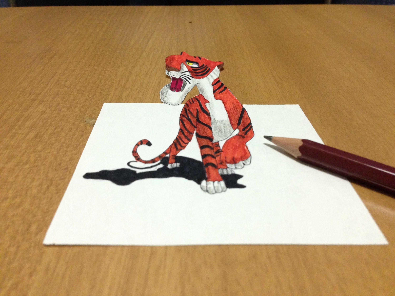 3000x2250 3d Tiger Drawing In Cartoon, Trick Art Anamorphic Illusion