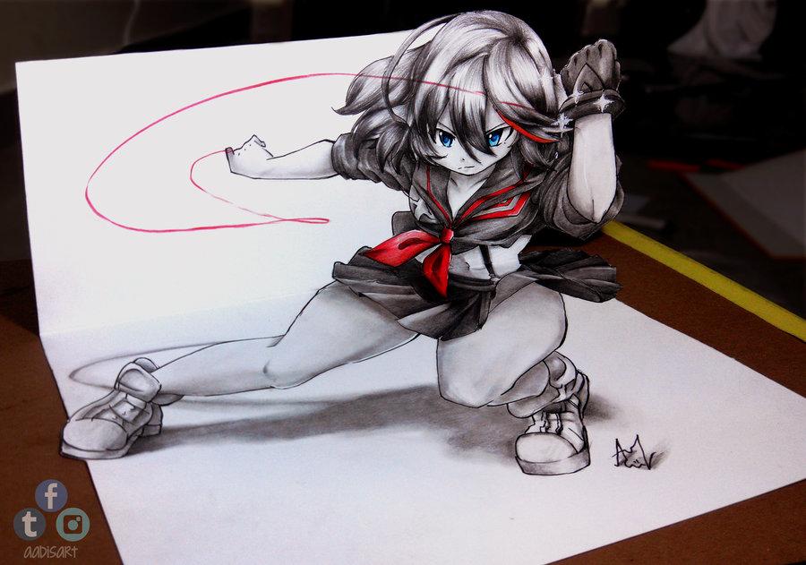 900x631 Ryuko Matoi 3d Drawing On Paper Kill La Kill Know Your Meme