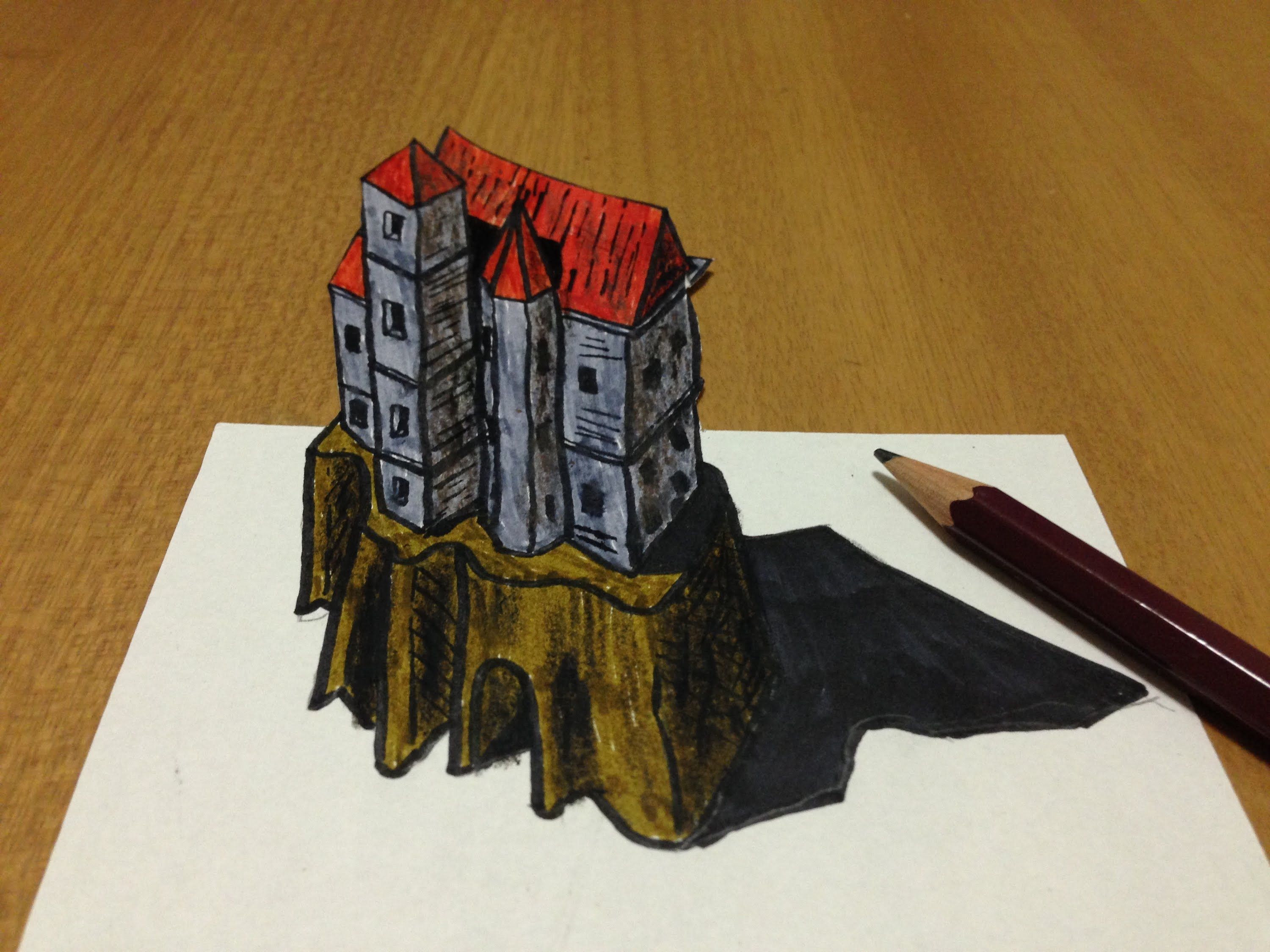 image about Anamorphic Illusions Printable referred to as 3d Castle Drawing at  Free of charge for specific employ the service of