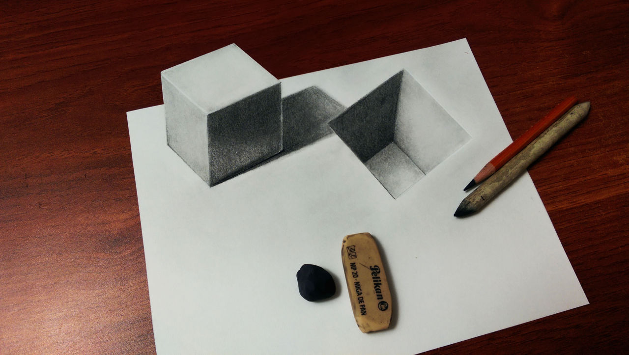 1280x723 3d Cube And Hole Drawing Photoimage By Mydrawingtips Fliiby