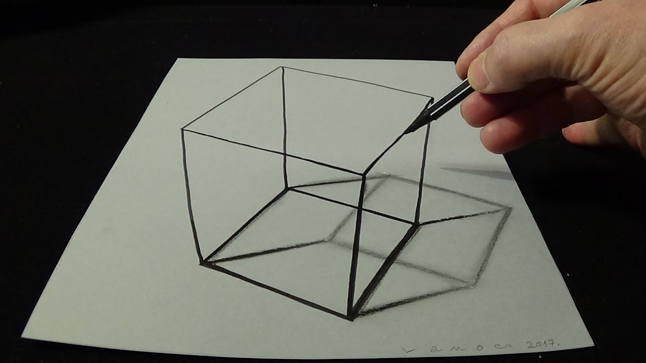 1280x720 3d Drawing A Simple Cube