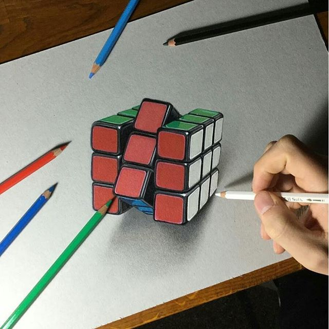 640x640 Awesome 3d Rubik's Cube Drawing
