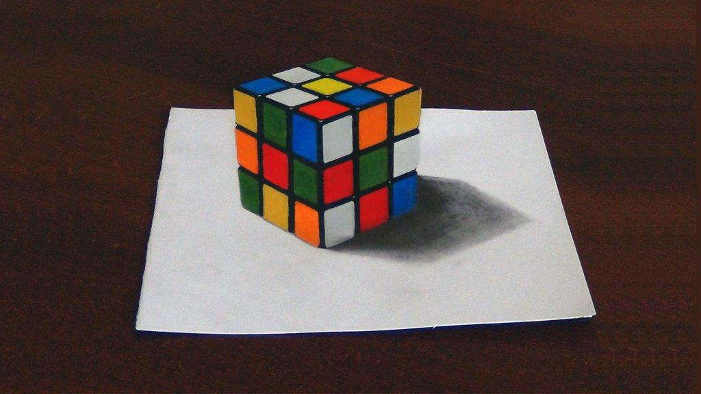 1024x576 Rubik's Cube (3d Drawing) By Ivanovsemyonrussia