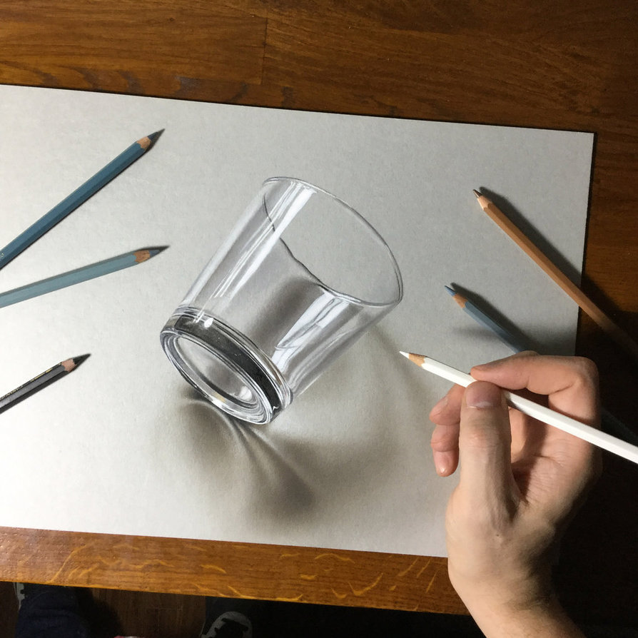 894x894 3D drawing of a simple glass by marcellobarenghi on DeviantArt