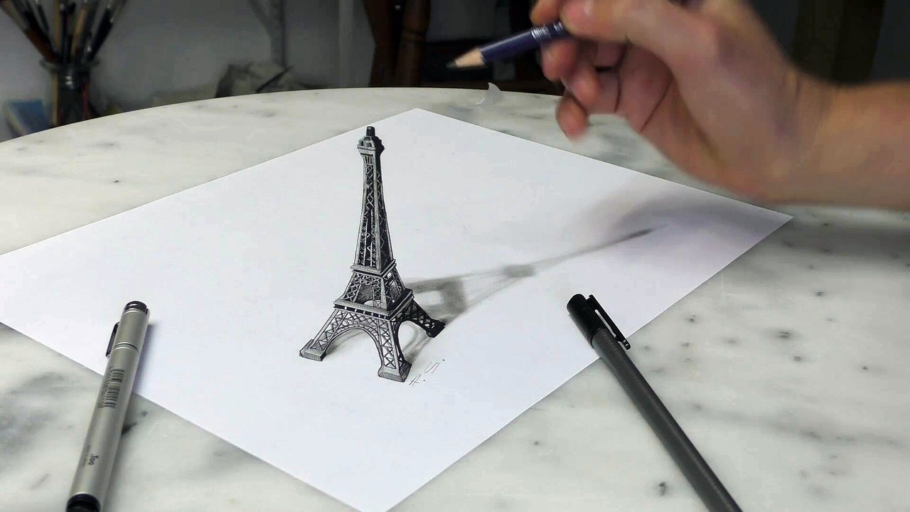 1280x720 Paris Eiffel Tower 3d Drawing Optical Illusion