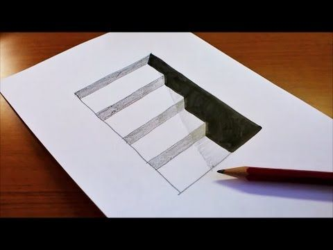 480x360 Very Easy!! How To Draw 3D Hole amp Stairs for Kids