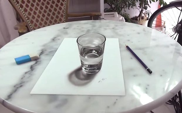 620x387 Video This 3D drawing of a glass of water will confuse your poor