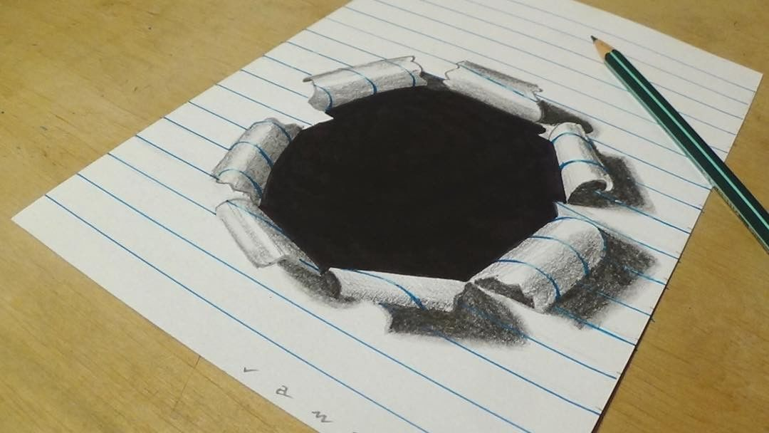 1080x608 Hole Paper 3d Drawing By Sandor Vamos 2