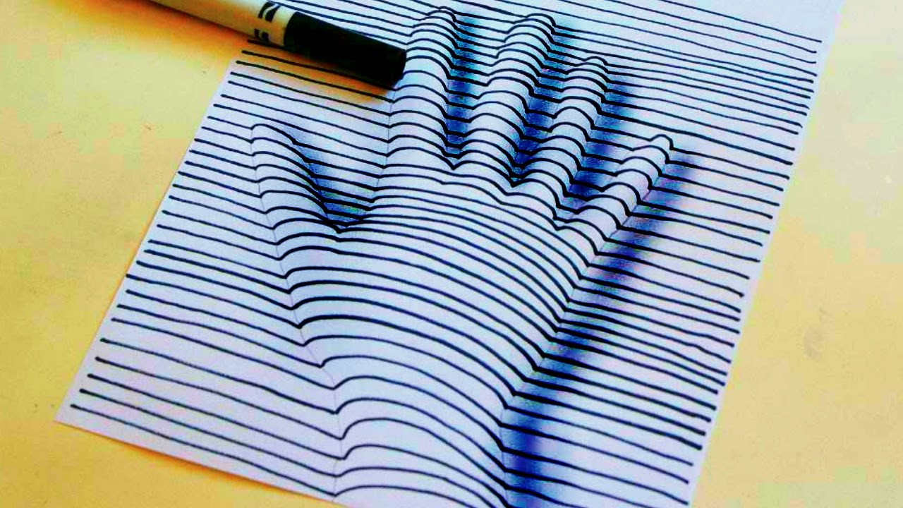 1280x720 Hand Drawing On Paper 3d Trick Art