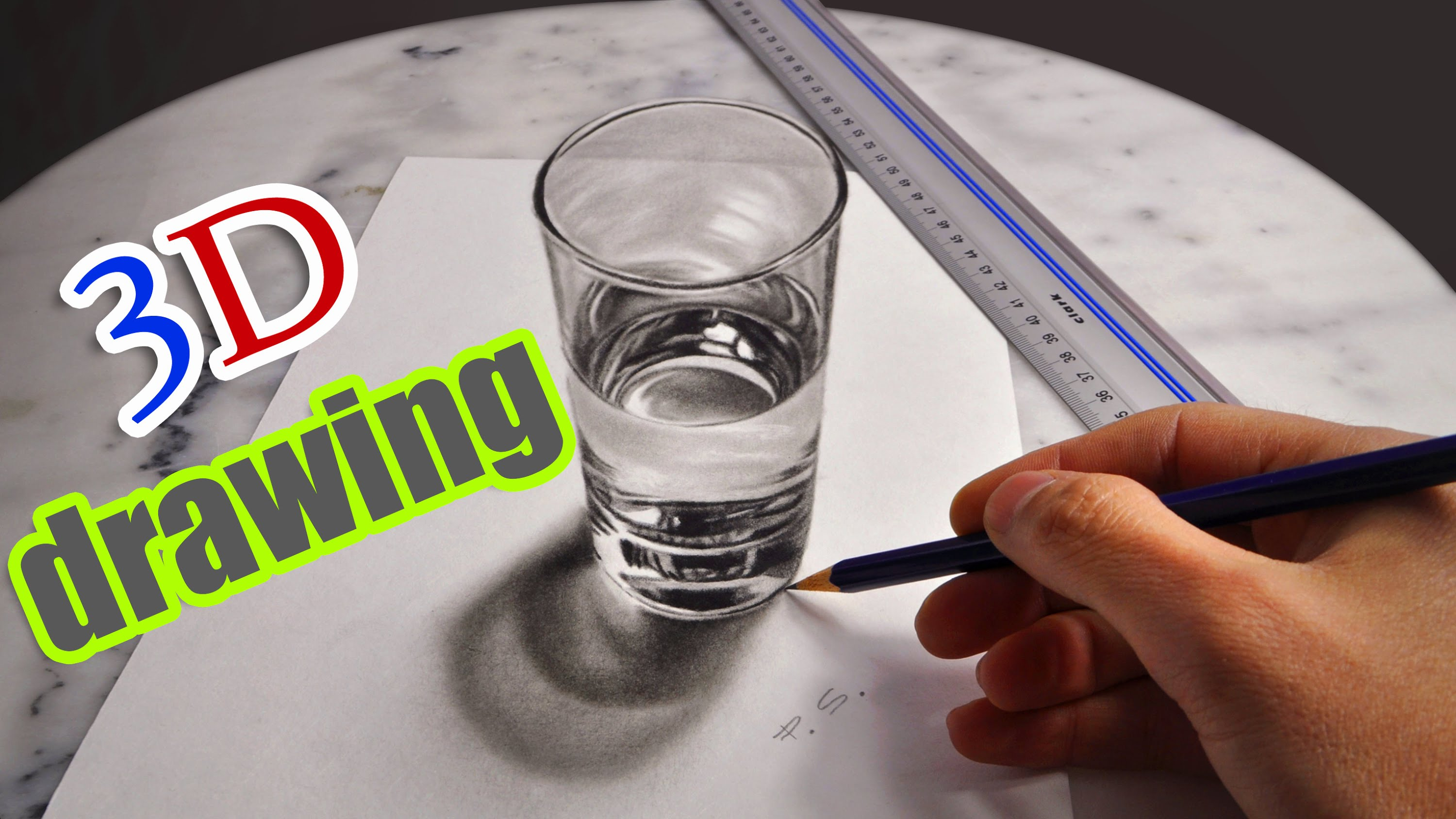 3000x1688 3d Drawing A Realistic Glass Of Water Amazing Illusion